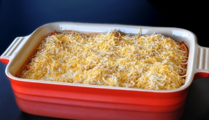 Assembled chicken enchilada casserole