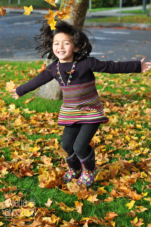Nora throwing leaves
